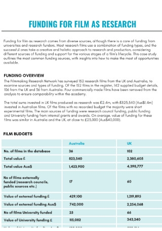 Film Budget Research Template