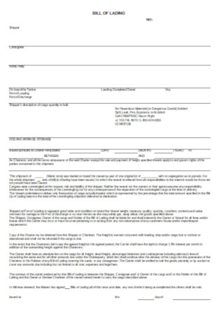 Formal Bill of Landing Forms Template