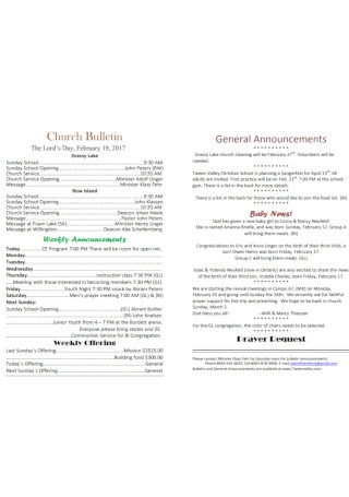 Formal Church Bulletin