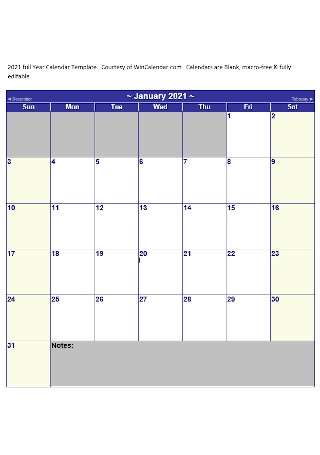 Full YEar Calendar Template