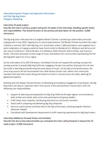 Internship Job Proposal Template