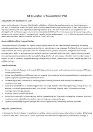 Job Description for Proposal Writer Template