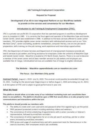 Job Training Request for Proposal