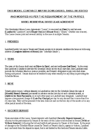 Joint Lease Model Agreement Template