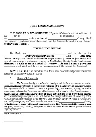 Joint Tenancy Agreement Template