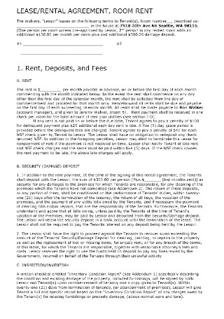 Lease and Room Rental Agreement Template