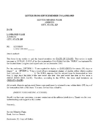 Letter from Servicemember to Landlord Template