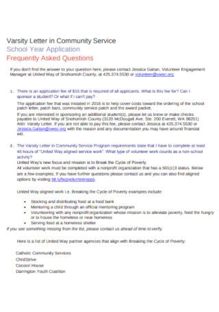 Letter in School Community Service