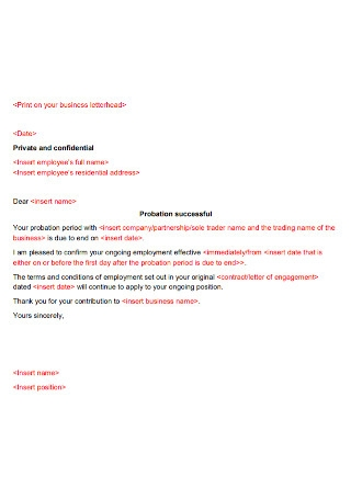 Letter of Employement Successful Probation Period Template