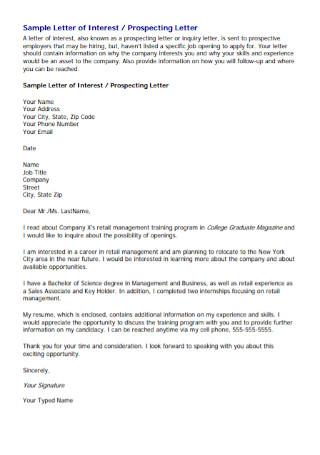 Letter of Prospecting Letter