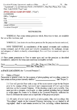 Location Filming Agreement