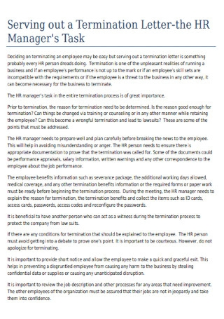 Manager Termination Letter