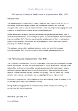 Managing and Supporting Performance Improvement Plan