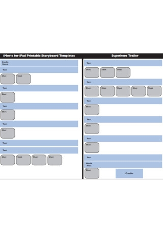 Movie for iPad Printable Storyboard Template
