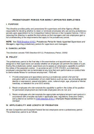 New Employee Probation Period Letter