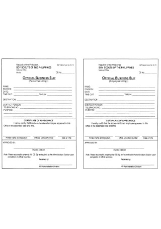 Official Business Slip Template