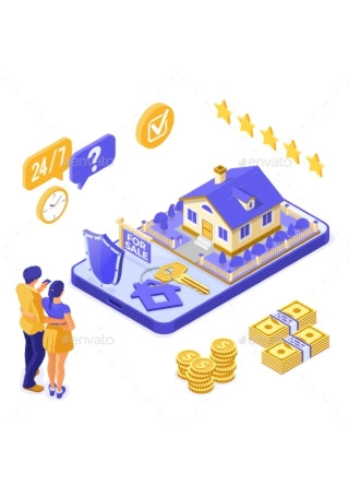 Online Sale Rent Mortgage House Isometric