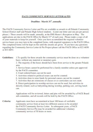 Pace Community Service Letter Template