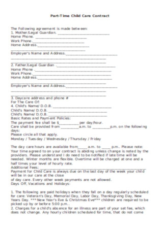 Part Time Child Care Daycare Contract