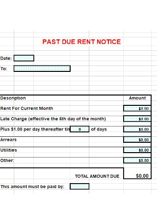 Past Due Rent Notice Templatee