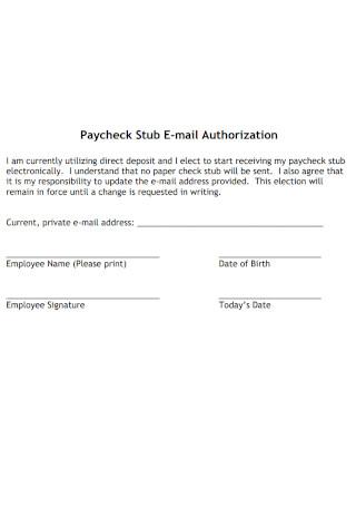 Paycheck Stub E mail Authorization Template