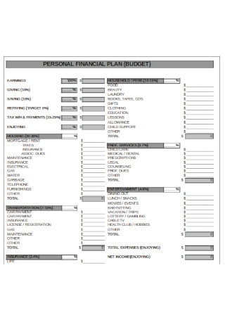 Personal Financial Budget Plan Template