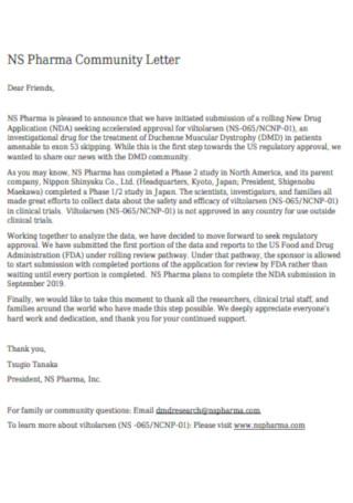 Pharma Service Community Letter