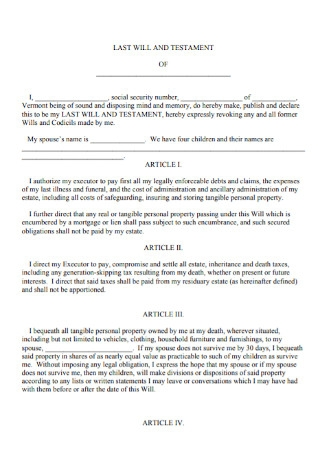 Printable Last Will and Testament Template