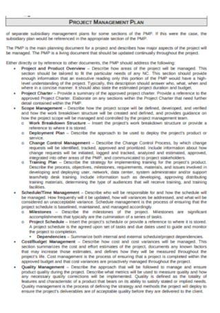 Printable Project Management Plan