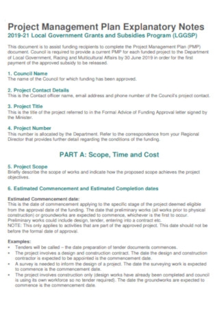 Project Management Plan Explanatory Notes Template