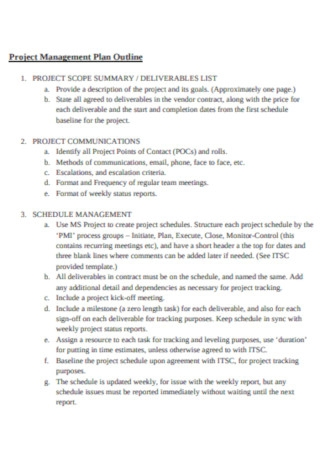 Project Management Plan Outline Template