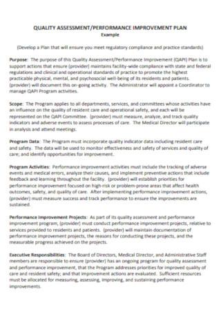 Quality Assessment Performance Improvement Plan