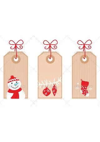 Retro Christmas Gift Tags isolated on white