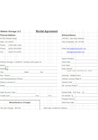 Room Shiled Rental Agreement Template