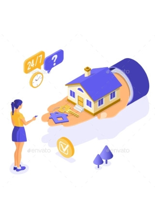 Sale Purchase Rent Mortgage House Isometric
