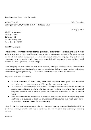 Sales Executive Cover Letter Template