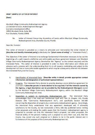 Sample Agency Letter of interest Template