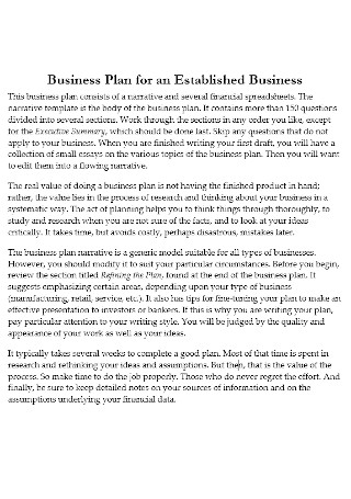 Sample Annual Business Sales Plans Example