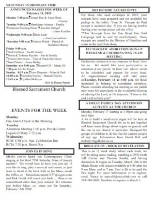 Sample Blessed Sacrament Church Bulletin Template