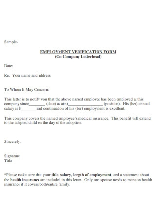 Sample Company Employement Verification LEtter Template