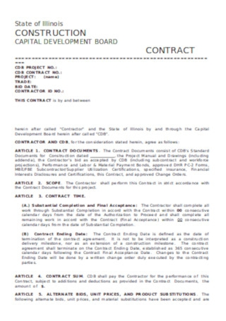 Sample Construction Capital Development Board Contract