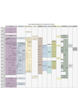 Sample Daily Kitchen Work Schedule