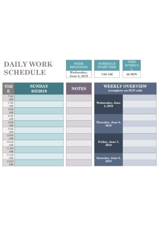 Sample Daily Work Schedule Template