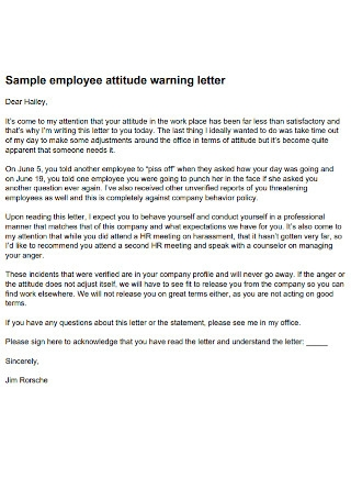 Sample Employee Attitude Warning Letter