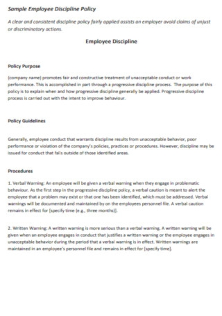 Sample Employee Discipline Policy Template