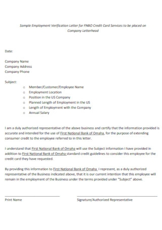 Sample Employment Verification Letter for Credit Card Template