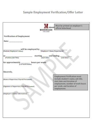 Sample Employment Verification Offer Letter