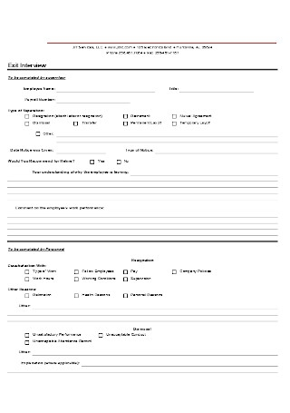 Sample Exit Interview Template