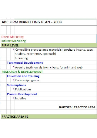 Sample Firm Annual Marketing Plan Template