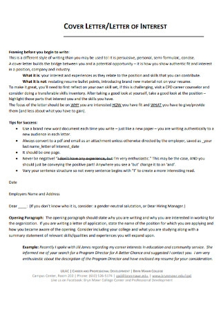 Sample Intrest of Cover Letter Template